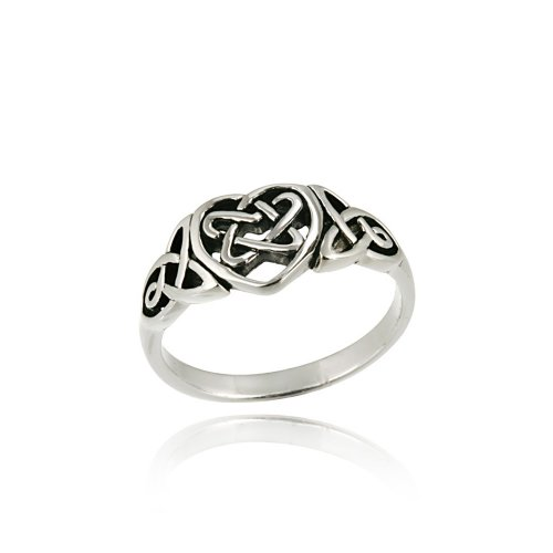 Sterling Silver Heart and Celtic Knot Ring, Size 6