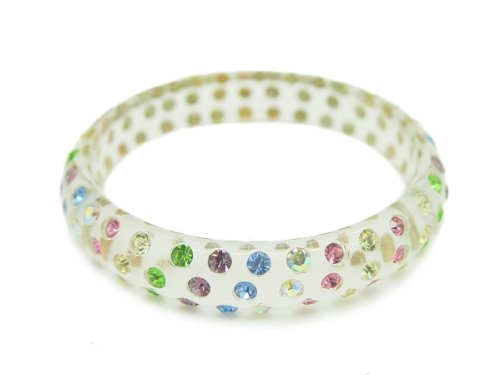 Baby Austrian Crystal Lucite Bangle Bracelet-CLEAR L.MULTI STONE