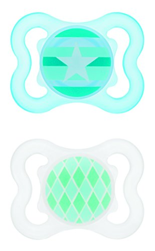 MAM Mini Air Silicone Pacifier, Boy, 0-6 Months, 2 Count
