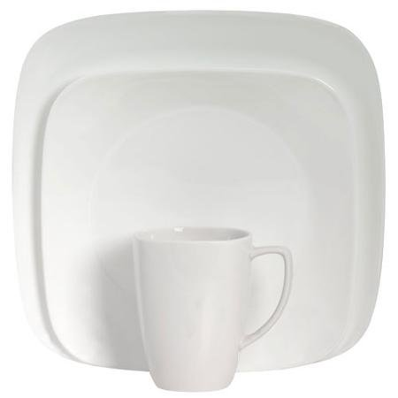 Corelle Squares Pure White 16-Piece Dinnerware Set, Microwave and Dishwasher Safe (Clearance Corelle Dishes compare prices)