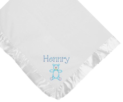 Teddy Bear White Soft Fleece Embroidered Personalized Baby Blanket - Custom Embroidery Hot Pink Thread front-1026629