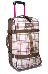 "JanSport Foot locker Wheeled Luggage Bag (19"", Shell Tan Dark Side Plaid)"