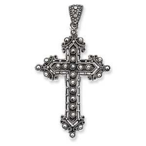 PriceRock Sterling Silver Marcasite Cross Pendant