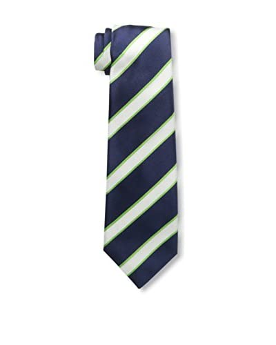 Kiton Men's Striped Tie, Blue/White