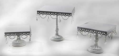 Opulent Treasures Square Chandelier Cake Stands Set of 3 (White) White Square Cake