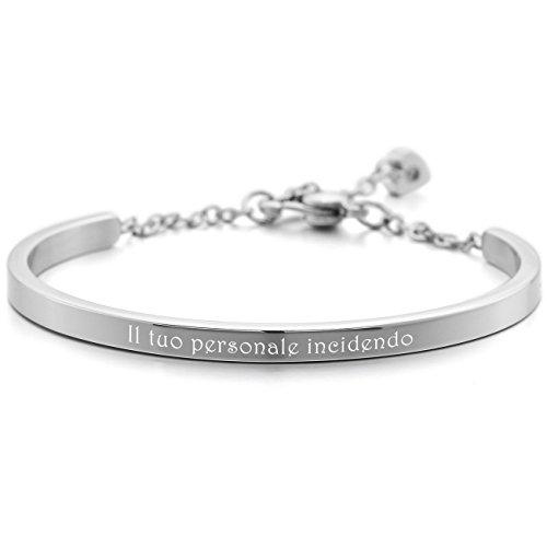 MeMeDIY Argento Acciaio Inossidabile Bracciali Bracciale Braccialetto Polsino Cuore Lucido - personalizzato incisione