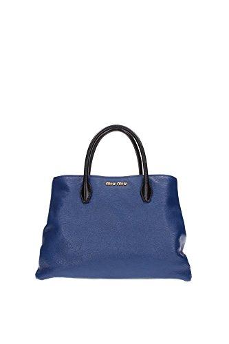 Borse a Mano Miu Miu Donna Pelle Blu Cobalto e Nero RN1087COBALTONERO Blu 15x25x35 cm