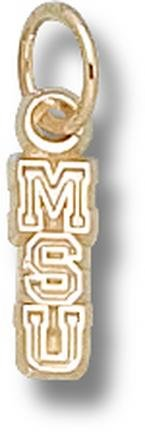 Michigan State Spartans Vertical MSU 3 8 Charm - 14KT Gold Jewelry by Logo Art