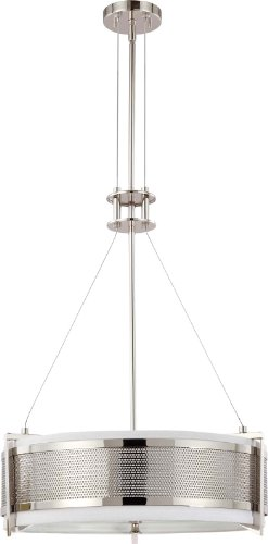 Nuvo Lighting 60/4443 Four Light Diesel Round Pendant with Slate Gray Fabric Shade/Frosted Diffuser, Polished Nickel