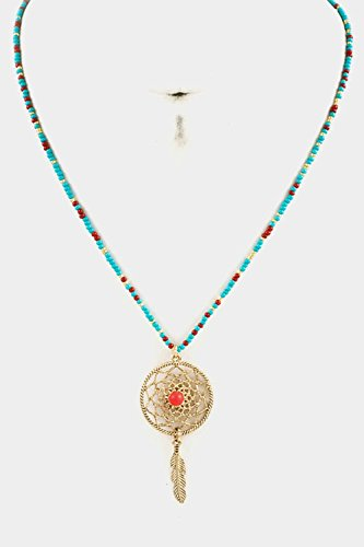 Glitz Finery Beads With Dream Catcher Pedant Necklace (Turquoise/Coral)