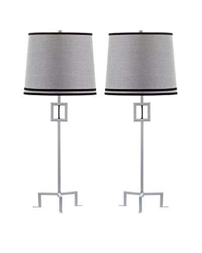Safavieh Set of 2 Hanover Table Lamps, White/Grey
