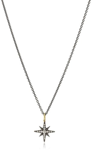 Mizuki 14k Diamond Starburst Necklace On Silver Chain, 18