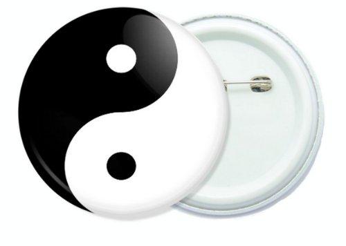 Yin Yang black and white 1.75 inch button pin badge.