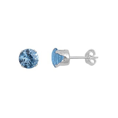 Birthstone Color .925 Sterling Silver Round Cz Stud Prong Set Earrings Sz 3,4,5,6,7,8mm, You Choose Your Birthstone Color/size (March-Aquamarine, 8mm)