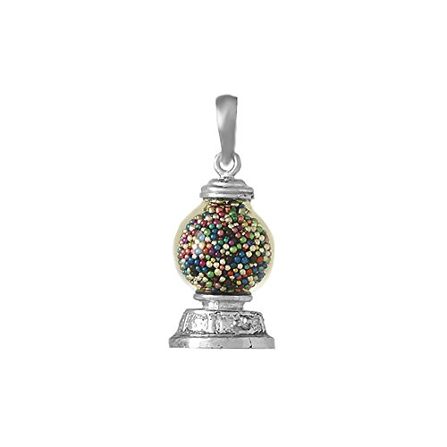 925 Sterling Silver Novelty Charm Pendant, 3-D Gumball Machine, Moveable
