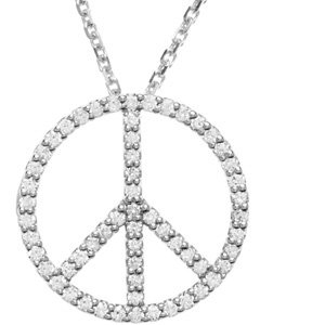1/3 CT TW 14K White Gold Tiny Peace Sign Necklace