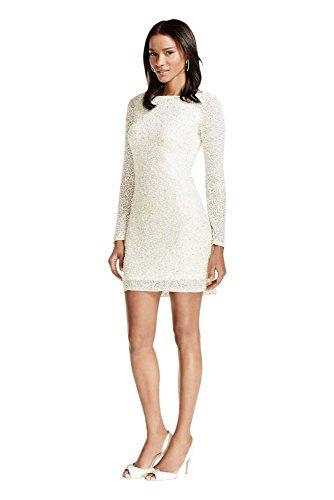Novelty All Over Sequin Long Sleeve V-Back Short Wedding Dress Style...