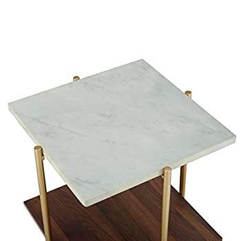 "WE Furniture Living Room 20"" Sturdy Square Side Table - Marble/Gold"