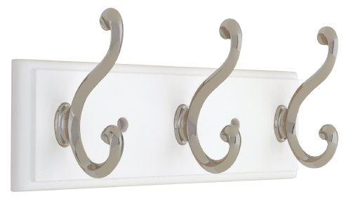 Liberty 129854 10-Inch Hook Rail/Coat Rack with 3 Scroll Hooks, White and Satin Nickel