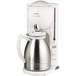 Krups Aroma Control Coffeemaker with Thermal Carafe and Programmable Timer, White and Brushed Chrome