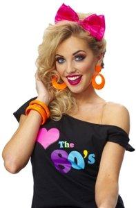 80s Satin Bow Headband (hot pink) Adult Halloween Costume Accessory