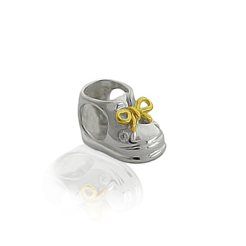 Bling Jewelry Gold Over 925 Sterling Silver Baby Shoe Charm Bead Pandora Compatible