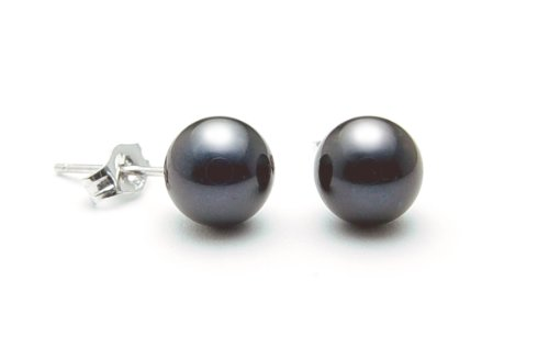AAA Quality Round 6-6.5mm Akoya SaltWater cultured Black Pearl Earrings with 18K White Gold Mount
