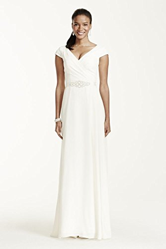Cap Sleeve Crepe A-Line Wedding Dress with Beaded Sash Style SDWG0122, Ivory, 12