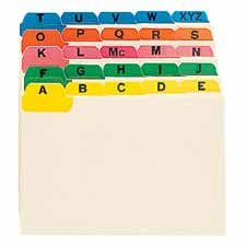 "Smead Manufacturing Company Products - Tab Guides, A-Z, 11 Pt., Fused Vinyl Tab, 6""x4"", 12 ST/BX, Manila - Sold as 1 ST - Alphabetic (A-Z) Indexed Tab Guide Set offers 25 division with 1/5 cut tabs in assorted positions. Features manila 11 point stock, fused vinyl tab, (multi-colored 5 tab). Use card guides for cross-reference indexes, desktop reference files, account lists, patient or customer address lists. Alphabetic indexed guides can be used for cross-referencing accounts in large numeric f"