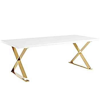 Modway EEI-3034-WHI Sector, Dining Table, White/Gold