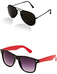 SHEOMY COMBO OF BLACK AVIATOR AND RED BLACK WAYFARER SUNGLASSES WITH 2 BOX (SUN-067)
