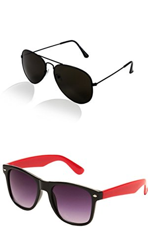 SHEOMY COMBO OF BLACK AVIATOR AND RED BLACK WAYFARER SUNGLASSES WITH 2 BOX (SUN-067)