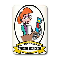 Dooni Designs Worlds Greatest Cartoons - Funny Worlds Greatest Customer Service Rep II Cartoon - Light Switch Covers - single toggle switch