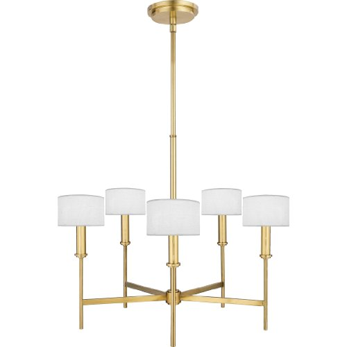 Quoizel RFR5005NR Ferrera 5 Light Chandelier, Natural Brass with Off White Linen Shades