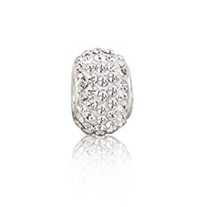 Bling Jewelry 925 Sterling Silver White Swarovski Crystal Bead Fits Pandora Pugster
