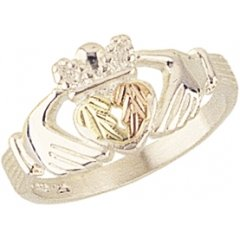 Beautiful! Sterling-silver Yellow-gold Black Hills Gold Women's Claddagh Ring Size 7.5