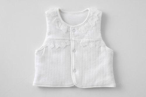 (チャックル) chuckle *PureWhite*刺繍レース新生児ベスト ホワイト 50-70cm P9034-00-10