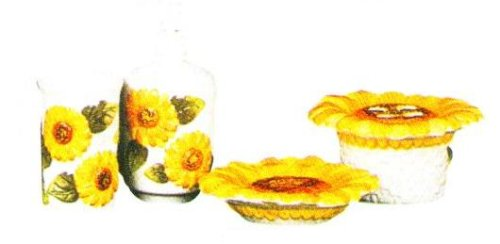 SUNFLOWERS 3D Bathroom Bath Set GOLD Trim Sunflowers NU