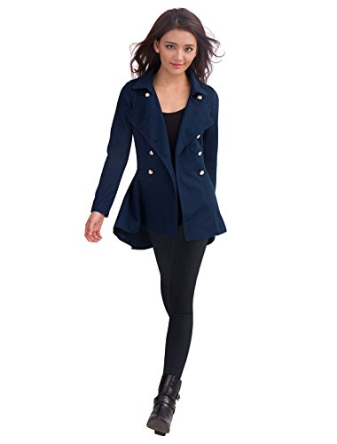 Allegra K Women Turn Down Collar Double Breasted Spring Peacoat Dark Blue M