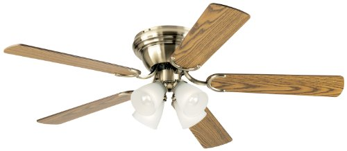 Westinghouse 7871400 Contempra IV Four-Light 52-Inch Five-Blade Indoor Ceiling Fan, Antique Brass with Frosted Ribbed-Glass Shades