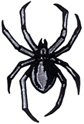 Creepy Black & Grey Black Widow Spider - Embroidered Iron On or Sew On Patch