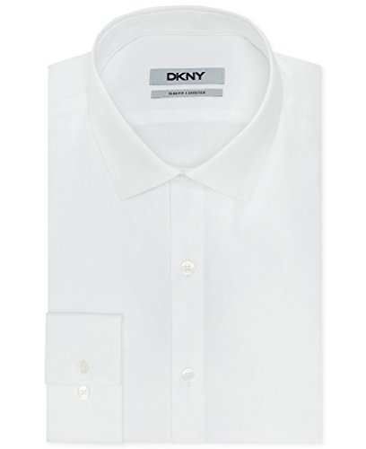 DKNY Slim Fit Twill Solid Dress Shirt - White 15.5 32/33