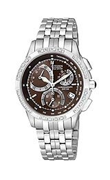 CITIZEN Watch:Citizen Eco-Drive Silhouette Diamond Chronograph Brown Dial Women's Watch #FB1090-57X Images