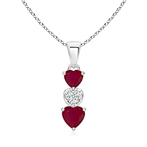 Black Friday & Cyber Monday - Triple Heart Dangling Natural Ruby and Diamond Pendant Necklace in Platinum
