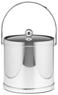 Kraftware Mylar Polished Chrome 3-Quart Ice Bucket With Bale Handle, Bands And Metal Cover