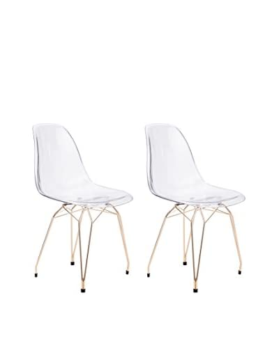 Zuo Set of 2 Shadow Chairs, Clear/Gold