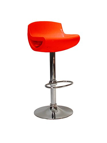 Valdomo Roxy Sgabello Bar, ABS, Rosso, 38.5x38.5x89 cm