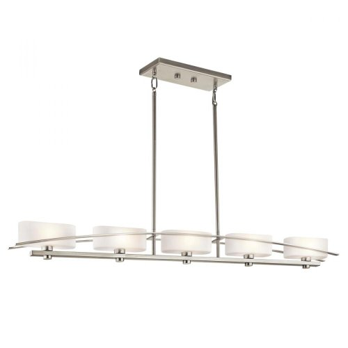 B006QEHB9M Kichler Lighting 42018NI Suspension 5-Light Linear Pendant, Brushed Nickel Finish with Satin Etched Opal Glass Shades