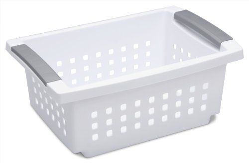 Sterilite 16608006 Small Stacking Basket, White Basket w/ Titanium Accents, 6-Pack (Storage Baskets Small compare prices)