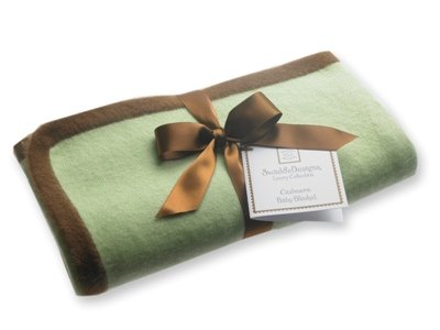 SwaddleDesigns Cashmere Baby Blanket - Lime with Mocha Trim